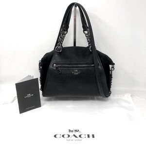 Coach Black Suede Pebbled Leather Crossbody Bag